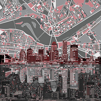 Abstract Skyline Royalty-Free and Rights-Managed Images - Louisville Kentucky Skyline Abstract by Bekim Art