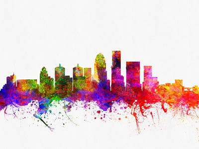 Kentucky Digital Art - Louisville Kentucky Skyline Color02 by Aged Pixel