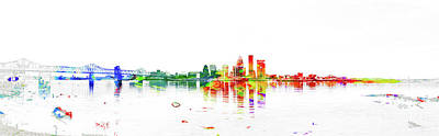 Digital Art - Louisville Kentucky Skyline by Pamela Williams
