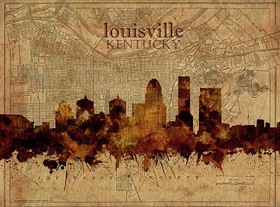 Abstract Skyline Royalty-Free and Rights-Managed Images - Louisville Kentucky Skyline Vintage 2 by Bekim M