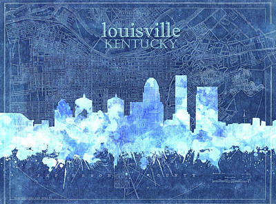 Abstract Skyline Royalty-Free and Rights-Managed Images - Louisville Kentucky Skyline Vintage 3 by Bekim M