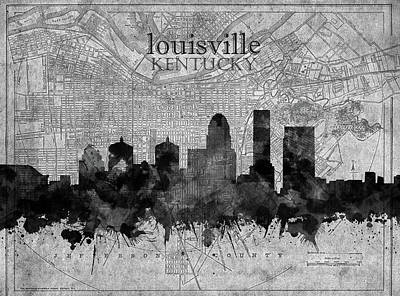 Abstract Skyline Royalty-Free and Rights-Managed Images - Louisville Kentucky Skyline Vintage 4 by Bekim M