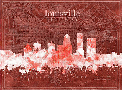 Abstract Skyline Royalty-Free and Rights-Managed Images - Louisville Kentucky Skyline Vintage 5 by Bekim Art