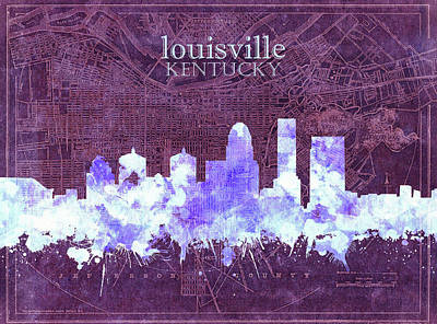 Abstract Skyline Royalty-Free and Rights-Managed Images - Louisville Kentucky Skyline Vintage 7 by Bekim M
