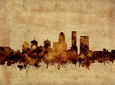 Abstract Skyline Royalty-Free and Rights-Managed Images - Louisville Kentucky Skyline Vintage by Bekim M