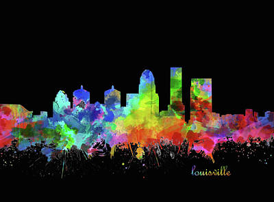 Digital Art - Louisville Kentucky Skyline Watercolor 12 by Bekim Art