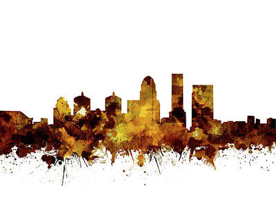 Abstract Skyline Royalty-Free and Rights-Managed Images - Louisville Kentucky Skyline Watercolor 2 by Bekim M
