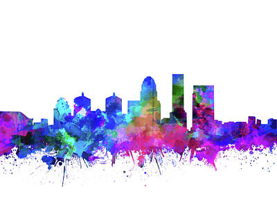 Abstract Skyline Royalty-Free and Rights-Managed Images - Louisville Kentucky Skyline Watercolor 3 by Bekim Art