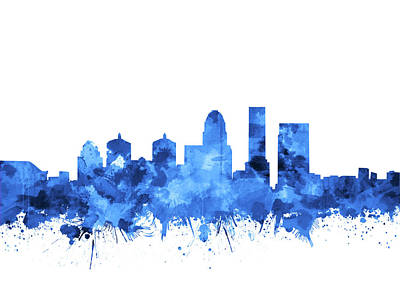 Abstract Skyline Royalty-Free and Rights-Managed Images - Louisville Kentucky Skyline Watercolor 4 by Bekim Art