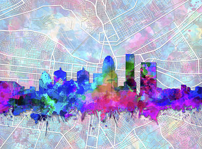 Abstract Skyline Royalty-Free and Rights-Managed Images - Louisville Kentucky Skyline Watercolor 5 by Bekim Art