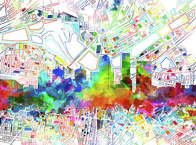 Abstract Skyline Royalty-Free and Rights-Managed Images - Louisville Kentucky Skyline Watercolor 6 by Bekim Art