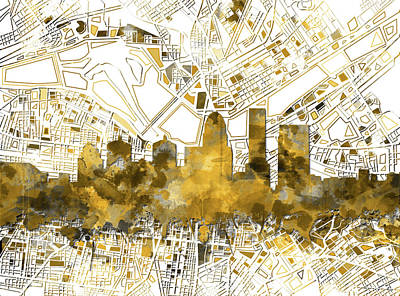 Abstract Skyline Royalty-Free and Rights-Managed Images - Louisville Kentucky Skyline Watercolor 7 by Bekim Art
