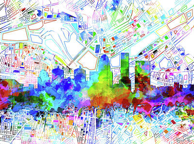 Abstract Skyline Royalty-Free and Rights-Managed Images - Louisville Kentucky Skyline Watercolor 8 by Bekim Art