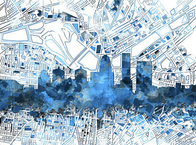 Abstract Skyline Royalty-Free and Rights-Managed Images - Louisville Kentucky Skyline Watercolor 9 by Bekim Art