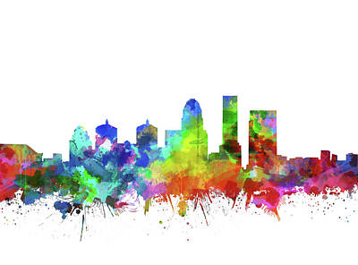 Abstract Skyline Royalty-Free and Rights-Managed Images - Louisville Kentucky Skyline Watercolor by Bekim Art