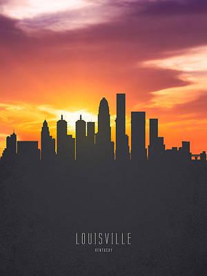 Kentucky Digital Art - Louisville Kentucky Sunset Skyline 01 by Aged Pixel