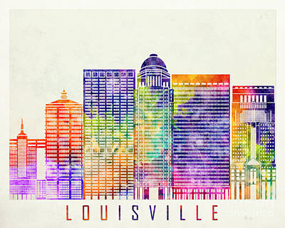 Kentucky Painting - Louisville Landmarks Watercolor Poster by Pablo Romero