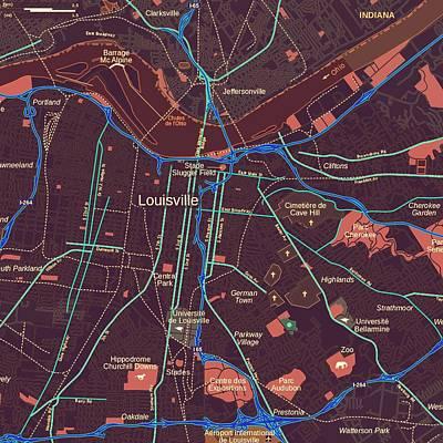 River Art Mixed Media - Louisville Map by Brandi Fitzgerald