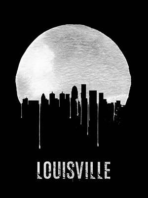 Kentucky Painting - Louisville Skyline Black by Naxart Studio