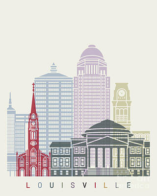 Kentucky Painting - Louisville Skyline Poster by Pablo Romero