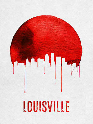 Kentucky Painting - Louisville Skyline Red by Naxart Studio
