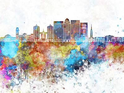 Kentucky Painting - Louisville V2 Skyline In Watercolor Background by Pablo Romero