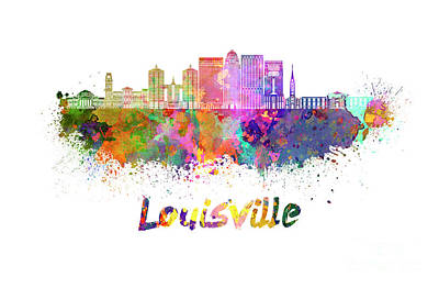 Kentucky Painting - Louisville V2 Skyline In Watercolor by Pablo Romero