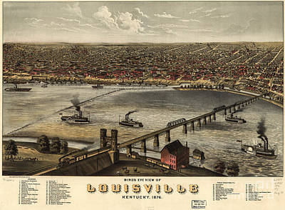 Photograph - Louisville Vintage Map by Dale Powell