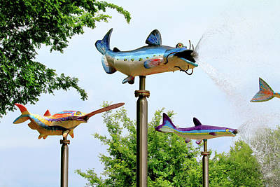 Metal Fish Art Photograph - Louisville's Waterfront Park by Art Block Collections