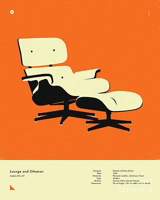 Infographic Digital Art - Lounge And Ottoman 1956 by Jazzberry Blue