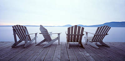 Restful Photograph - Lounge Chairs Moosehead Lake Me by Panoramic Images