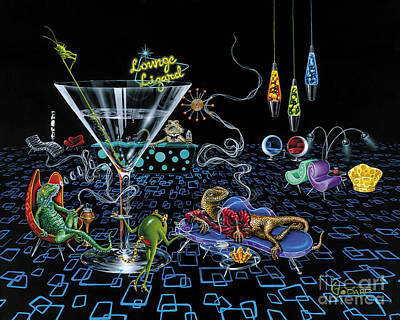 Martini Painting - Lounge Lizard by Michael Godard