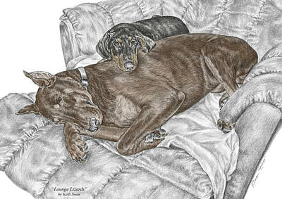 Pinscher Drawing - Lounge Lizards - Doberman Pinscher Puppy Print Color Tinted by Kelli Swan
