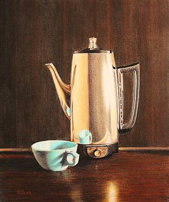 Potted Drawing - Lounge Percolator by Henry Balzer