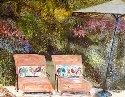 Painting - Lounges By The Pool by Chuck Gebhardt