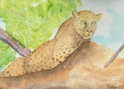 Art Print featuring the painting Lounging Leopard by Vicki  Housel