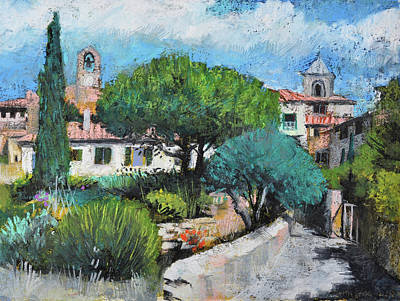 Painting - Lourmarin,provence, Village View With Gardens by Martin Stankewitz