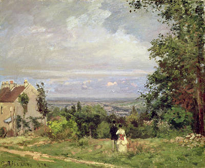 Couple Hugging Painting - Louveciennes by Camille Pissarro
