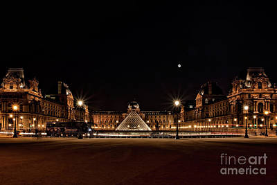 Louvre At Night Art Print by Joerg Lingnau