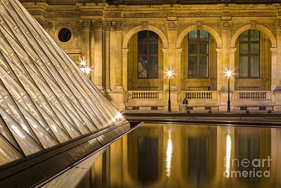 Photograph - Louvre Courtyard Lamps - Paris by Brian Jannsen