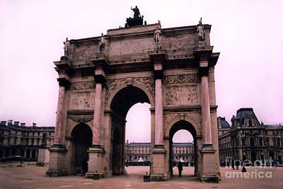 Photograph - Louvre Museum Entrance Courtyard Arc De Triomphe Arch Landmark - Paris Louvre Museum Architecture by Kathy Fornal