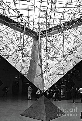 Photograph - Louvre Pyramid, Paris France Inverted Glass Pyramid Fine Art Photograph Black And White Landscape Pr by Tim Hovde