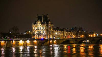 Photograph - Louvre Sein At Night Paris France by Lawrence S Richardson Jr