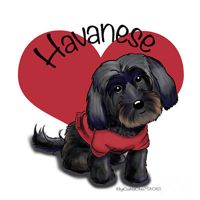 Puppies Mixed Media - Lovable Black Havanese by Catia Cho