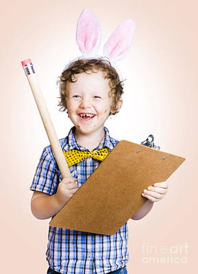 Lovable Easter Child Holding Clipboard And Pencil Art Print by Jorgo Photography - Wall Art Gallery