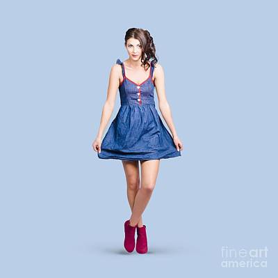 Lovable Eighties Female Pin-up In Denim Dress Print by Jorgo Photography - Wall Art Gallery