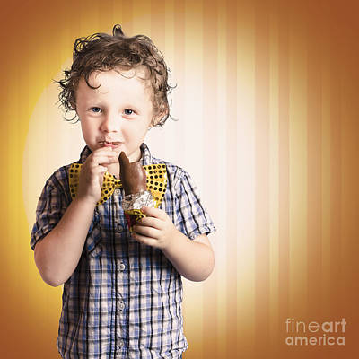 Preteen Photograph - Lovable Little Child Eating Chocolate Easter Bunny by Jorgo Photography - Wall Art Gallery