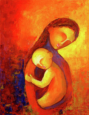 Abstract Mother And Child Painting - Love 1 by Sagarika Sen