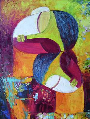 Abstract Mother And Child Painting - Love 2 by Sangeeta Charan