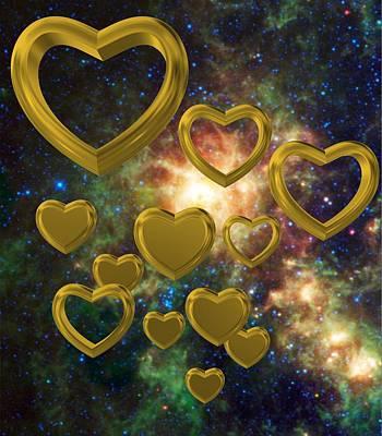 Golden Digital Art - Love 3 by Alberto RuiZ